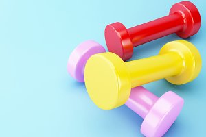 3D colorful dumbbells. Healthy lifes