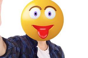 Emoji head man taking selfie.