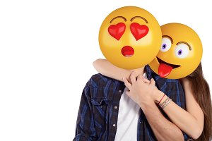 Emoji head man and woman. Beautiful