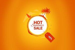 Hot summer sale vector banner