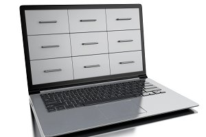 3d Files cabinets in laptop