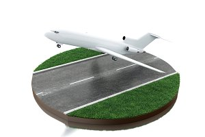 3d Airplane taking off.