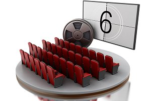 3d Cinema movie theater with film re
