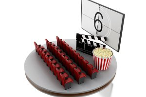 3d Cinema movie theater with popcorn