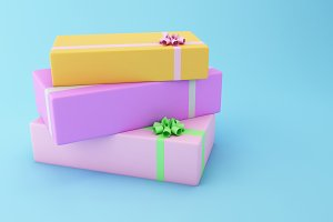 3D Colorful gift boxes.