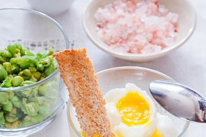 Soft Boiled Eggs with Toast and peas