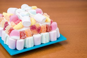 Marshmallows and jelly beans cake