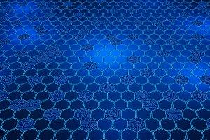 Digital data. Hexagon shape and circ
