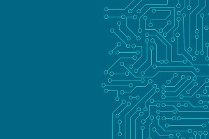 Blue circuit board pattern texture.