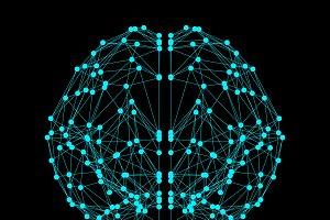Human brain icon isolated on black b