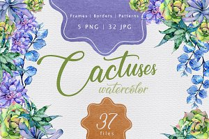Colorful cactuses PNG watercolor set
