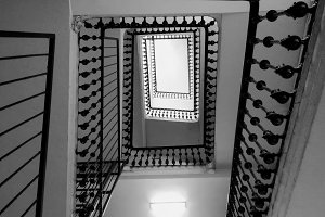 beautiful black and white stairs
