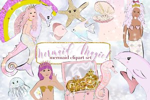 Mermaid clipart illustrations