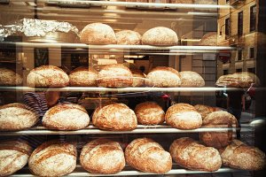 fresh bread in a bakery