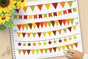 70% OFF - Fall Bunting Clipart + SVG
