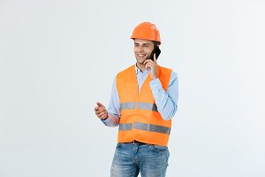 Young engineers are talking mobile