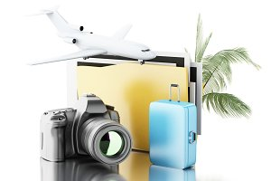 3d Photo camera with folder, airplan