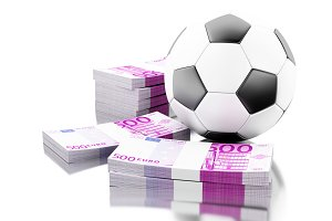 3d Soccer ball with money. Betting c
