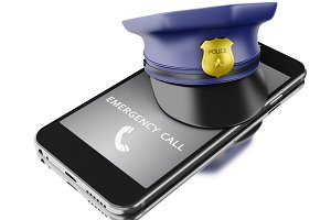 3d Smartphone with a police hat. Mob