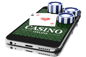 3d Smartphone with coins and poker c
