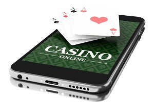 3d Smartphone with poker cards. Onli