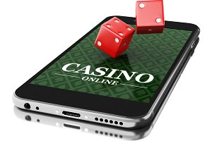 3d Smartphone with dices. Online cas