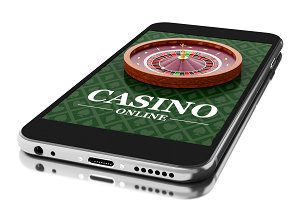 3d Smartphone with roulette. Online