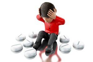 3d people with headache, needs pills