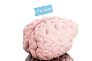 3d Brain with a signboard and word h