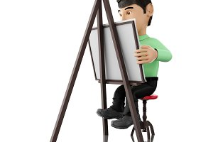 3d people artist with an easel