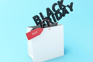3d Black friday on shopping bag.