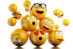 3d Emojis icons with facial expressi