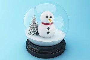 3d Snowman in a snow dome.
