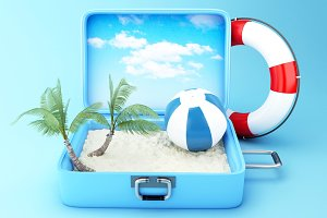 Travel suitcase. beach vacation conc