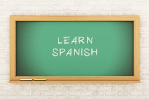 3D Chalkboard with learn Spanish.