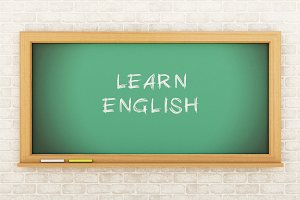 3D Chalkboard with learn English.