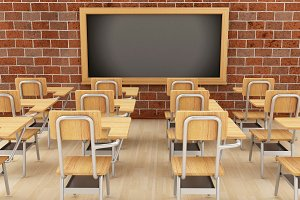 3d classroom with chairs and chalkbo