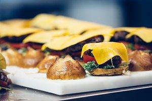 Tasty mini burger spanish tapas