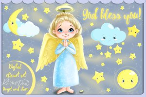 Angel digital clipart set