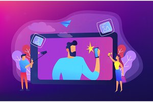 Selfie concept vector illustration.