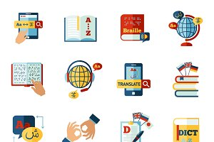 Translator and dictionary icons set