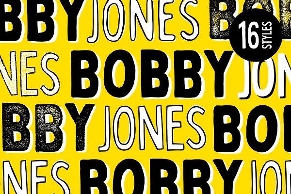 Display Fonts: Tom Chalky - Bobby Jones - 16 Fonts