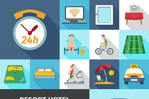 Hotel and resort services icons