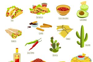 Mexican national food icon set