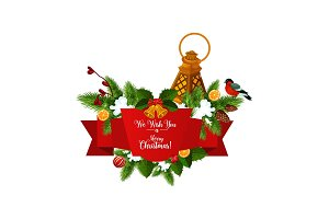 Christmas tree garland with ribbon