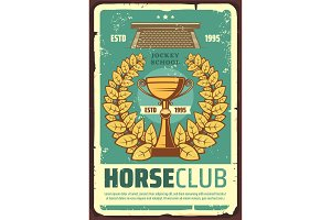 Horse racing club poster with wreath
