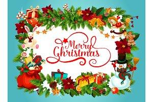 Christmas poster with fir garland