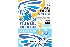 Volleyball tournament in summer camp