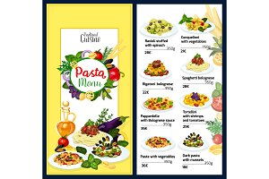 Pasta menu for cuisine of Italy