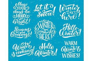 Winter holiday quote lettering